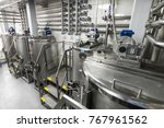 steel tanks for mixing liquid.... | Shutterstock . vector #767961562
