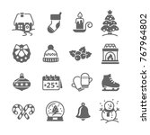 christmas  decoration icon set | Shutterstock .eps vector #767964802