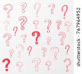 hand drawn question marks on... | Shutterstock .eps vector #767964952
