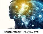 global communication network... | Shutterstock . vector #767967595