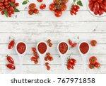 top view tomato sauce spoon... | Shutterstock . vector #767971858