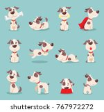 Stock vector vector illustration set of cute and funny cartoon little dogs pupies 767972272
