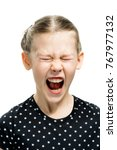 emotion  girl screaming on... | Shutterstock . vector #767977132