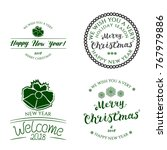 set of four badges new year...   Shutterstock .eps vector #767979886