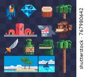 pixel art flat icons set.... | Shutterstock .eps vector #767980642