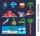 pixel art flat icons set.... | Shutterstock .eps vector #767980642