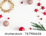 christmas composition.... | Shutterstock . vector #767986636