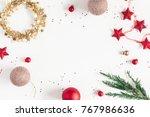 christmas composition.... | Shutterstock . vector #767986636