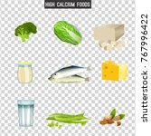 high calcium foods. fresh fish  ... | Shutterstock .eps vector #767996422
