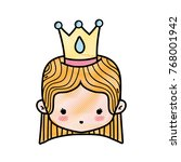 grated girl head with crown and ... | Shutterstock .eps vector #768001942