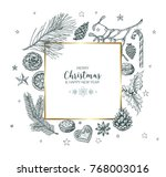 vector vintage hand drawn... | Shutterstock .eps vector #768003016