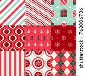 seamless christmas ornament... | Shutterstock .eps vector #768006736