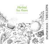 herbal tea shop frame vector... | Shutterstock .eps vector #768013096