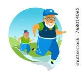 active elderly couple doing... | Shutterstock .eps vector #768014062