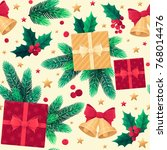 christmas seamless pattern with ...   Shutterstock .eps vector #768014476