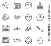 thin line icon set   call ... | Shutterstock .eps vector #768015322