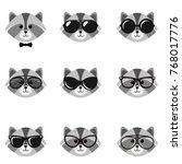cute cartoon raccoons with... | Shutterstock .eps vector #768017776