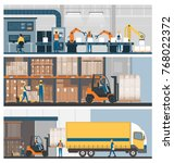 smart factory  warehouse ... | Shutterstock .eps vector #768022372