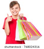 portrait of smiling teen boy... | Shutterstock . vector #768024316