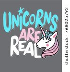 typography slogan with unicorn... | Shutterstock .eps vector #768025792