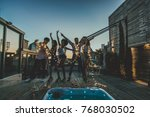 multi ethnic group of friends... | Shutterstock . vector #768030502