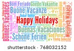 happy holidays word cloud in... | Shutterstock . vector #768032152