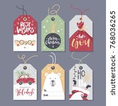 christmas tags with lettering... | Shutterstock .eps vector #768036265