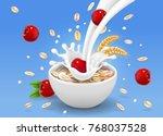 oatmeals  oat flakes muesli... | Shutterstock .eps vector #768037528