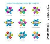 human hormones vector signs... | Shutterstock .eps vector #768038512
