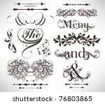 Stock vector vector set calligraphic design elements and page decoration lots of useful elements to embellish 76803865