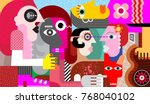 group of five strange people... | Shutterstock .eps vector #768040102