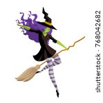 witch flying in the sky | Shutterstock .eps vector #768042682