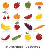 fruit and vegetables icons | Shutterstock .eps vector #76804981