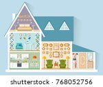the house is in a cut. vector... | Shutterstock .eps vector #768052756
