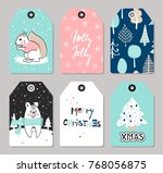 set of christmas tags with cute ... | Shutterstock .eps vector #768056875