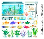 aquarium and fish set of icons  ... | Shutterstock .eps vector #768060688
