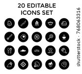 cook icons. set of 20 editable... | Shutterstock .eps vector #768063316