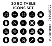 iron icons. set of 20 editable... | Shutterstock .eps vector #768065722