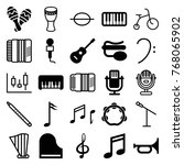 set of 25 musical filled and... | Shutterstock .eps vector #768065902