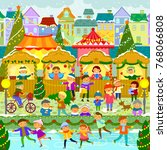 colorful christmas market in a... | Shutterstock . vector #768066808