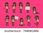 set of female character in... | Shutterstock .eps vector #768081886
