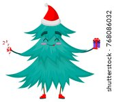 christmas tree character with... | Shutterstock .eps vector #768086032
