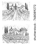 rustic vineyard. rural...   Shutterstock . vector #768089272