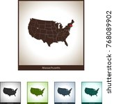 map of massachusetts | Shutterstock .eps vector #768089902