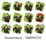 vector set of twelve square... | Shutterstock .eps vector #768094732