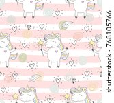 cute hand drawn unicorn vector... | Shutterstock .eps vector #768105766