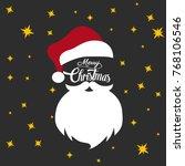 santa claus hat and beard | Shutterstock .eps vector #768106546