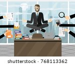 business man meditating in... | Shutterstock .eps vector #768113362