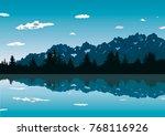 landscape mountain flat...   Shutterstock . vector #768116926