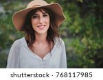 smiling girl with hat | Shutterstock . vector #768117985